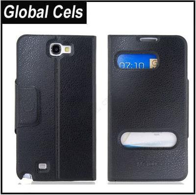 Estuche Samsung Galaxy Note 2 de Cuero Rígido con Soporte Videos Negro se ve Hora y Estado