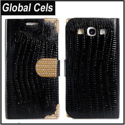 Estuche Funda Samsung Galaxy S3 Metal Esquinas Negro con Dorado Tarjetero y Broche adornado de Cristales