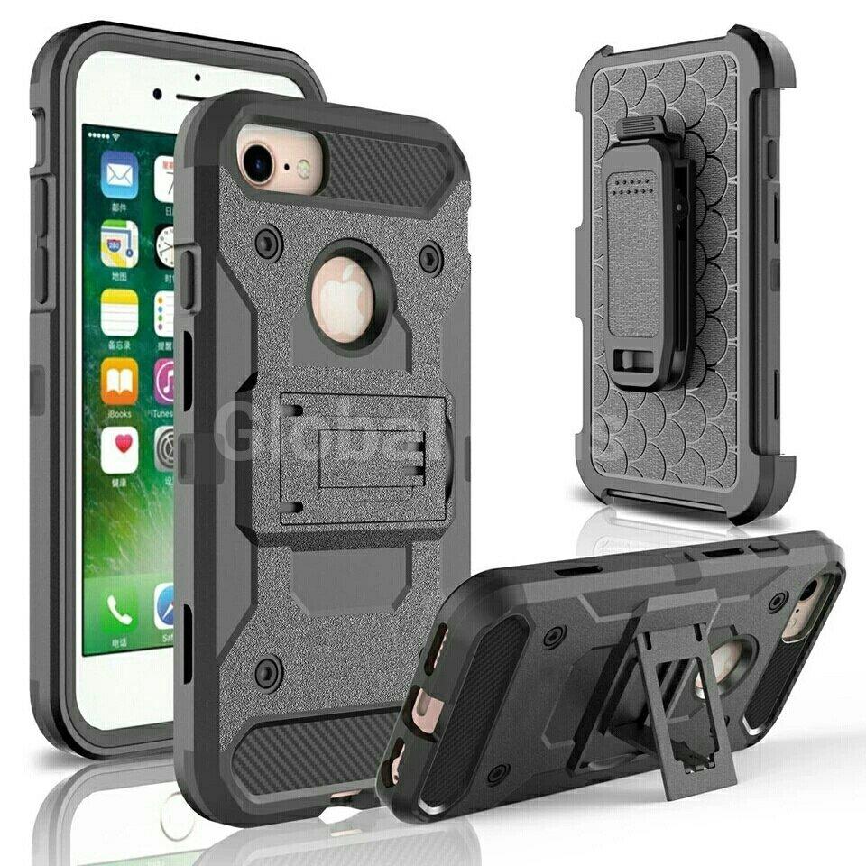 Case Funda Iphone 7 Plus 4 partes holster gancho parante