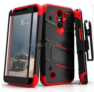 Case LG K10 2017 Zizo c/ Vidrio Templado Extremo Negro con Rojo