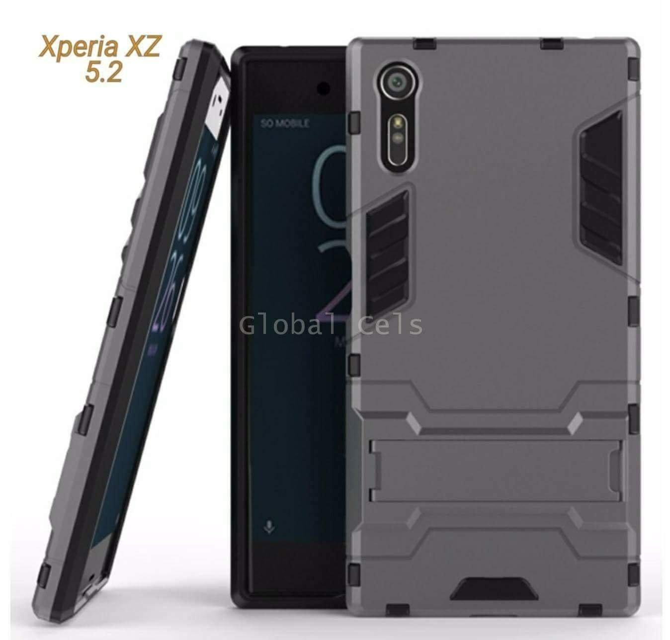 """Case Sony Xperia XZ 5.2"""" Gris Antigolpes con Soporte"""