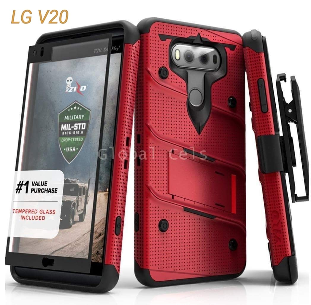 Case LG V20 Extremo Zizo c/ Vidrio Temp. Rojo y Negro