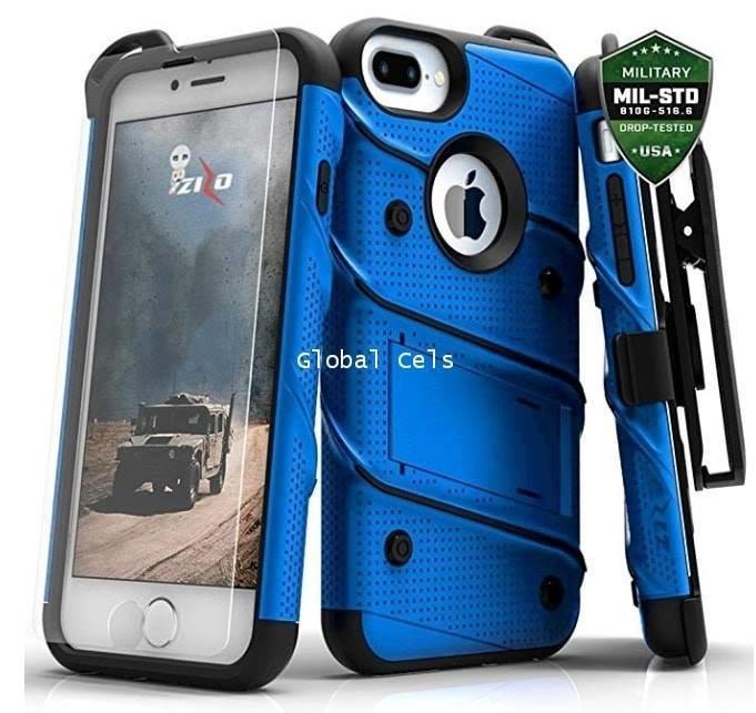 Case Iphone 8 Plus 6S 6 Plus Z-bold Azul con bordes Negros c/ Vidrio Templado