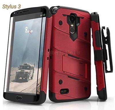 Case LG Stylus 3 Stylo 3 Zizo USA c/ Vidrio Templado Rojo Vino