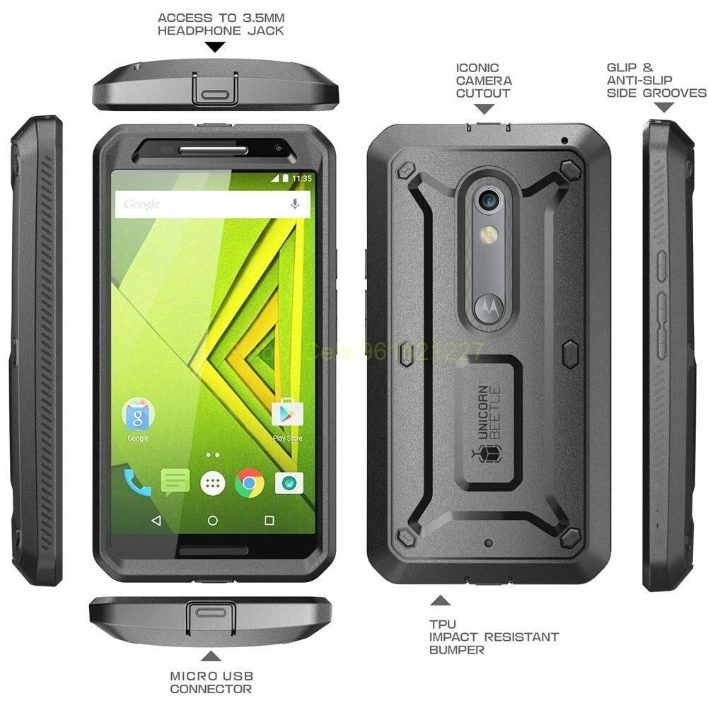 Supcase Case Motorola Moto X Play protector con pantalla Integrada más gancho