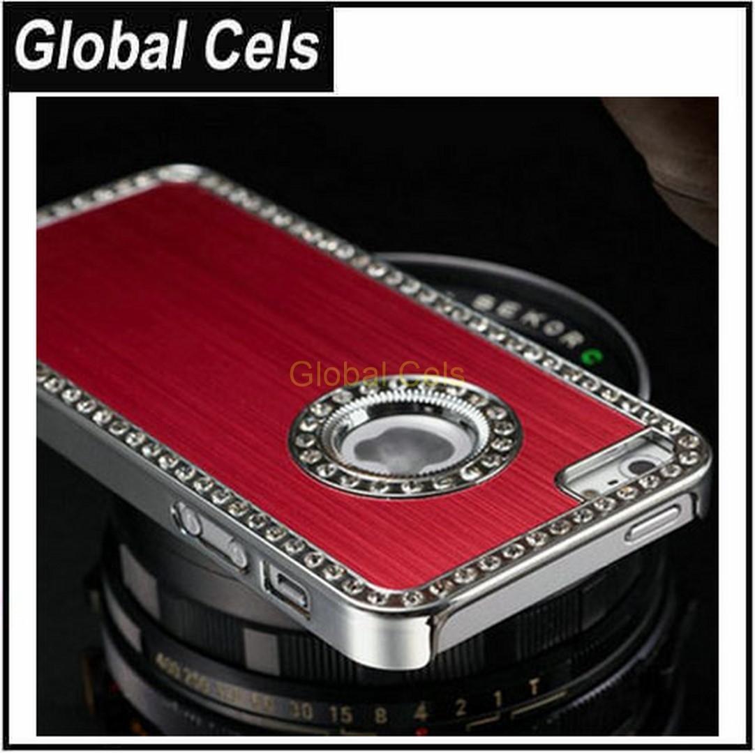 Case Estuche iPhone 5,5S,5G aluminio de lujo de bordes diamante fantasía y cristales cromados
