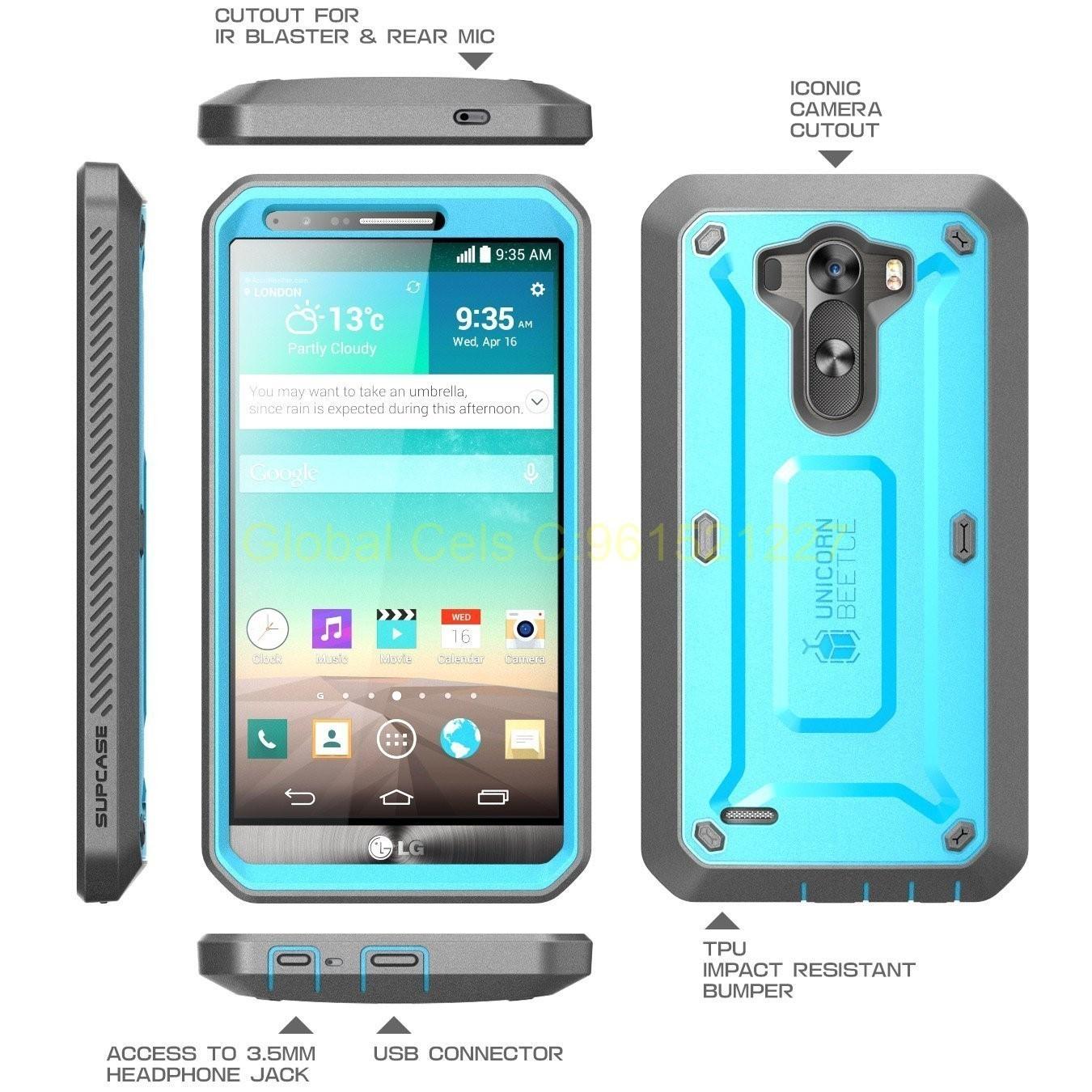 Case LG G3 D855 Supcase Protector Extremo con Mica Incorporada Celeste Gris