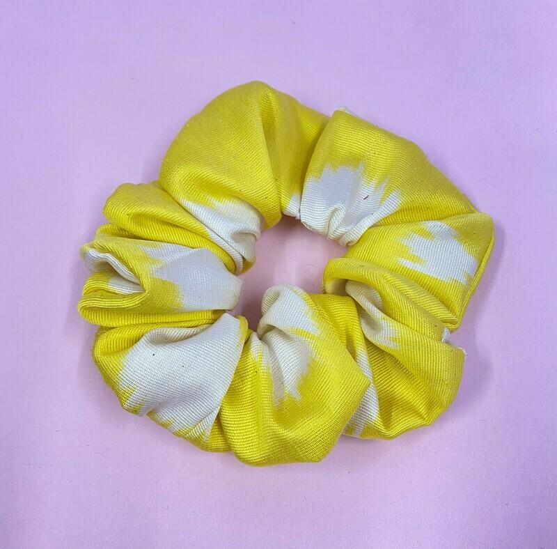 Sunshine Yellow Ikat Silk Scrunchie