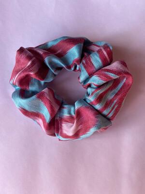 Sky Blue, Powder Pink And Raspberry Ikat Silk Scrunchie