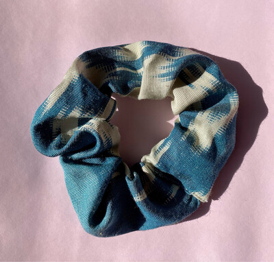 Blue And White Ikat Silk Scrunchie