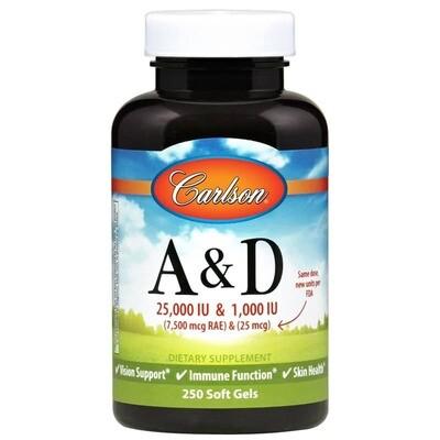 A & D (25,000 IU & 1,000 IU) - 250 softgels