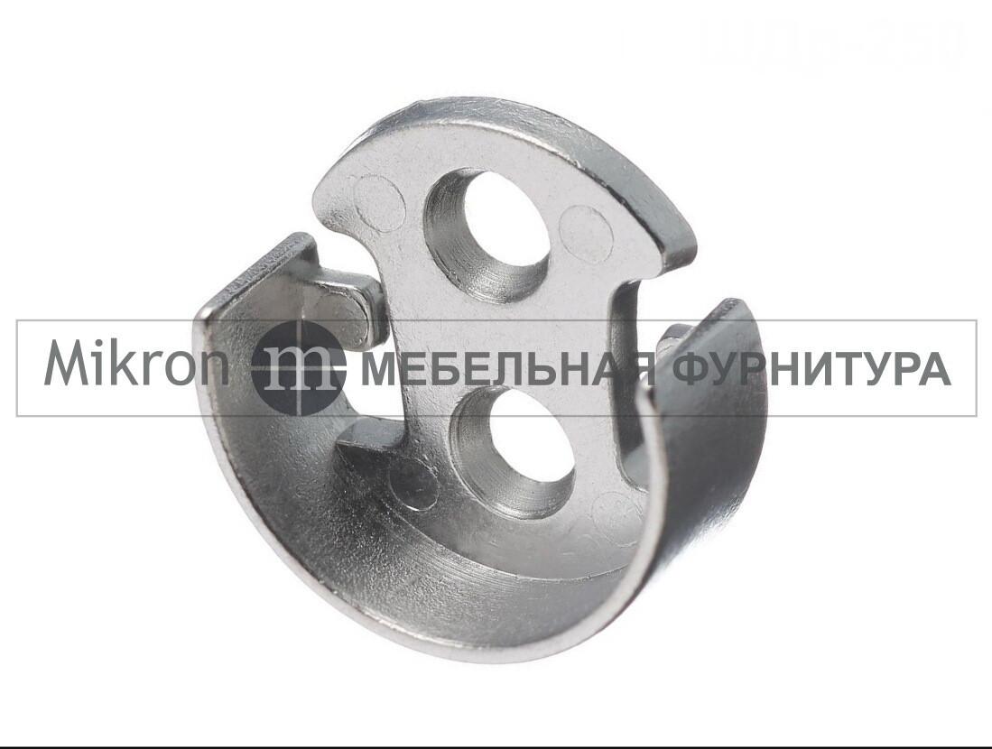 Держатель с защёлкой для мебельной трубы 25 мм, металл (покрытие - хром)