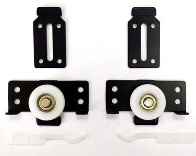 Комплект роликов (2+2) на одну дверь для шкафа-купе (нагрузка 40 кг) с нижним опорным роликом