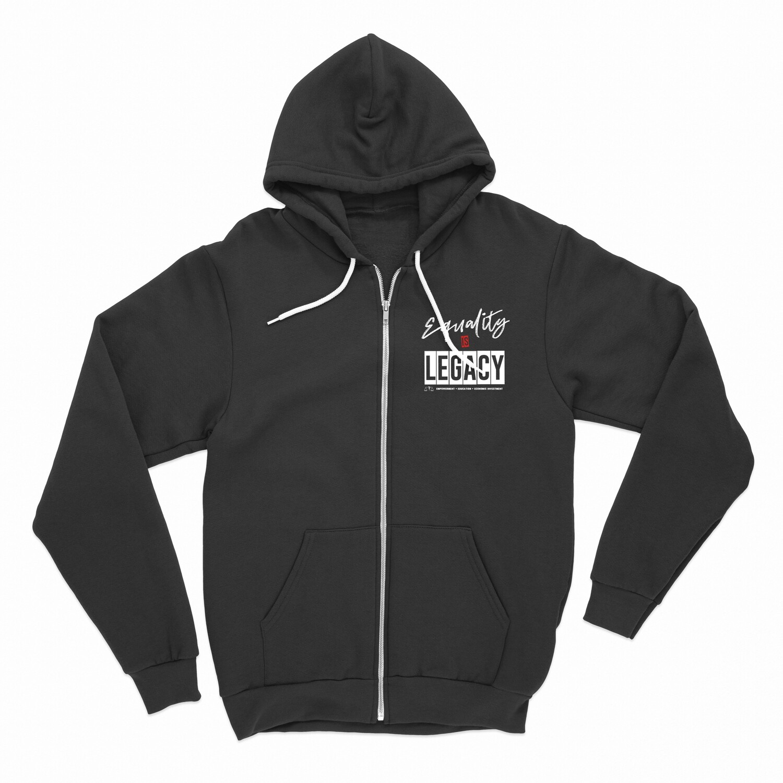 Equality is Legacy zip-up hoodie in black