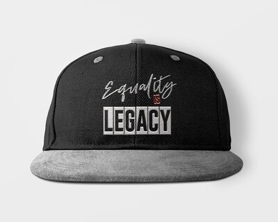 Equality is Legacy snap back cap in black and grey