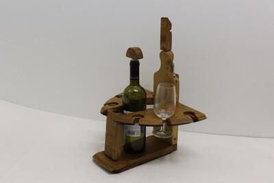 Portabicchieri e bottiglia doghe