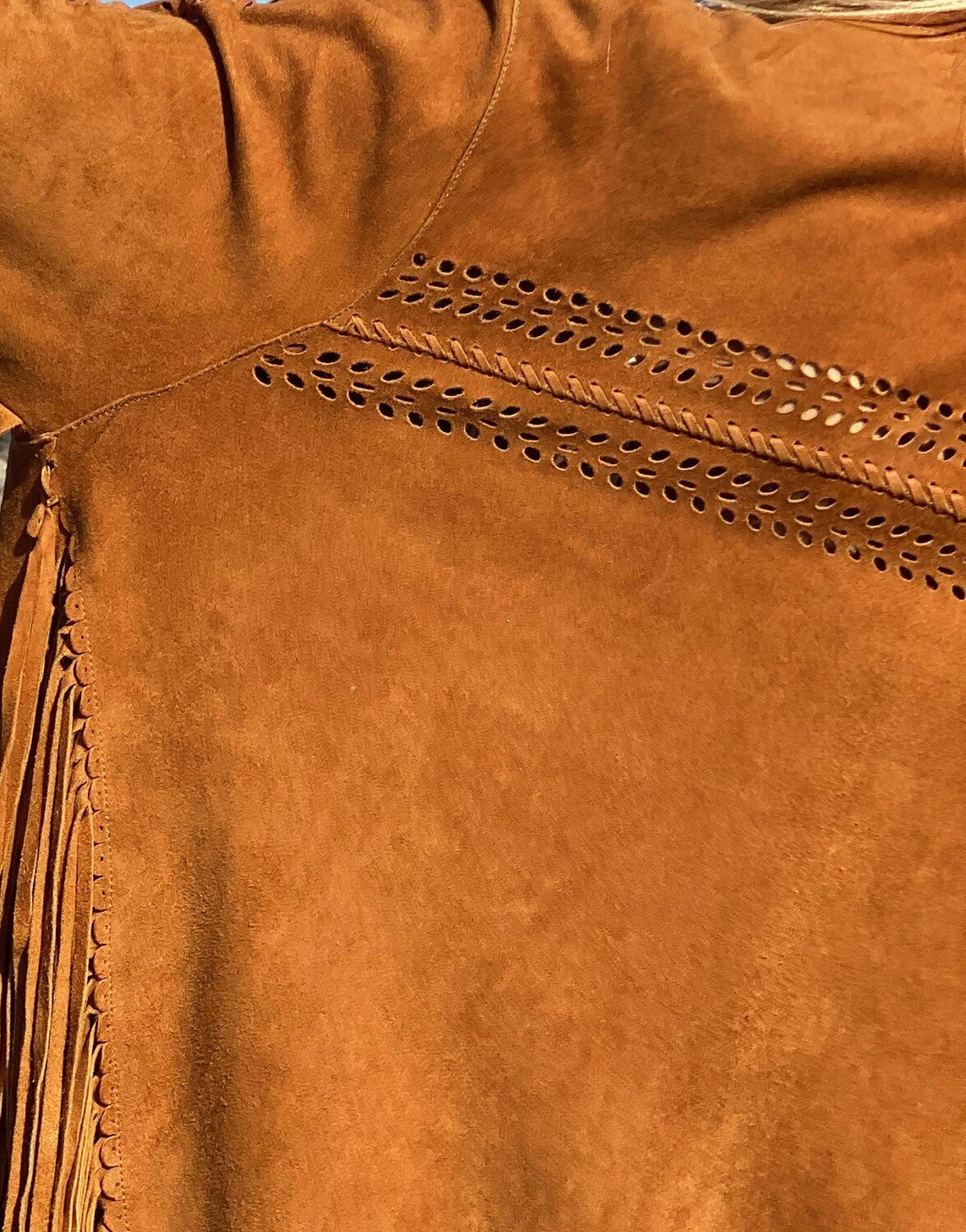 FRINGED JACKET - COLOR TAN - 100% LAMB SUEDE