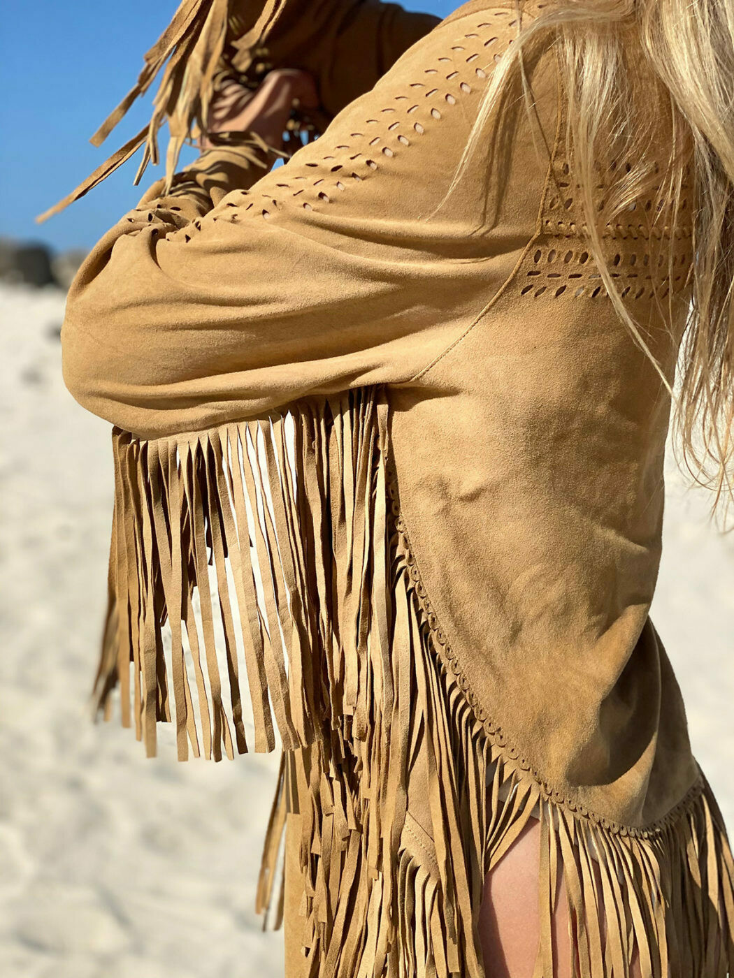 FRINGED JACKET - COLOR SAND - 100% LAMB SUEDE