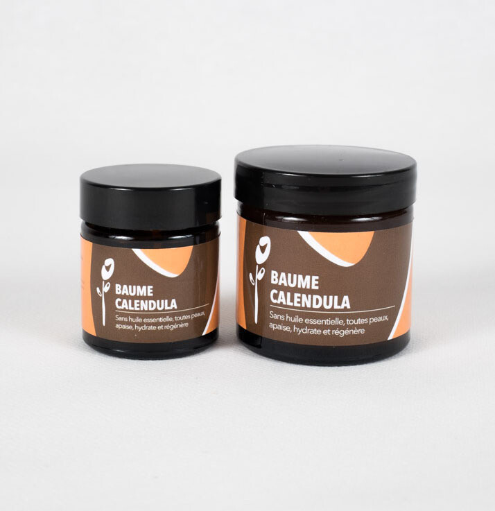 Baume Calendula  Sans huiles essentielles, convient à toutes les peaux. Apaise les peaux sensibles et hydrate.