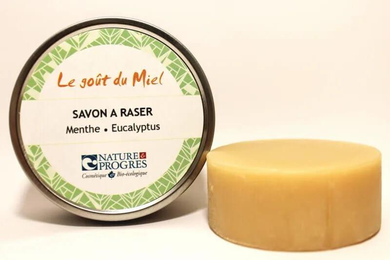 Savon à raser  BIO Menthe Eucalyptus Voyagez léger avec le 2 en 1!