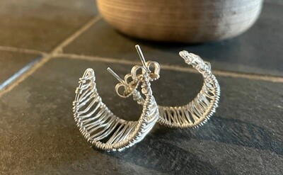 """Sterling Silver Wire Wrapped """"C"""" Earrings"""