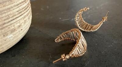 "14K Gold Fill Wire Wrapped ""C"" Earrings"