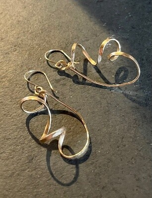 """Hammered Gold """"Chaos"""" Earrings"""