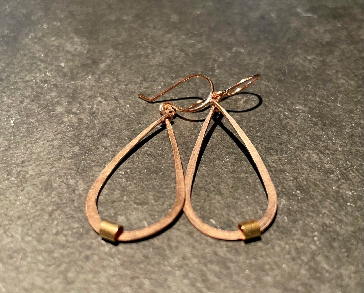 Hammered Teardrop Earrings with bead