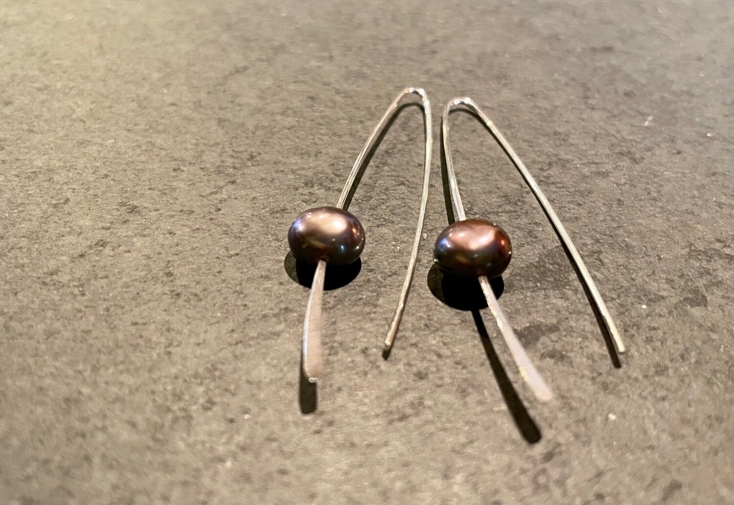 Sterling Sliver Wishbone earrings with blue/purple iridescent pearl