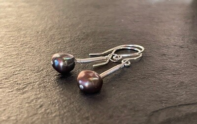 Wire Wrapped pearl dangles