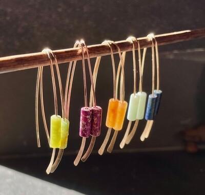 Wishbones with stone beads