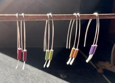 Wishbone Earrings with Metalic Beads
