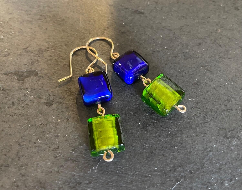 Blue and Green Murano Bead Dangles