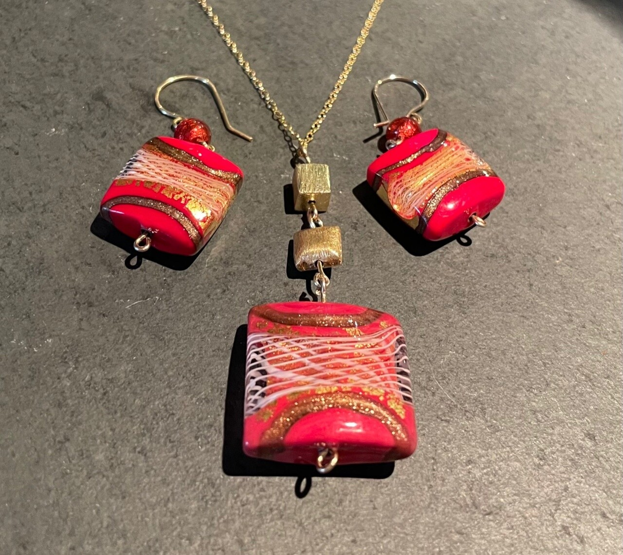 Red Murano Glass Earrings and Necklace
