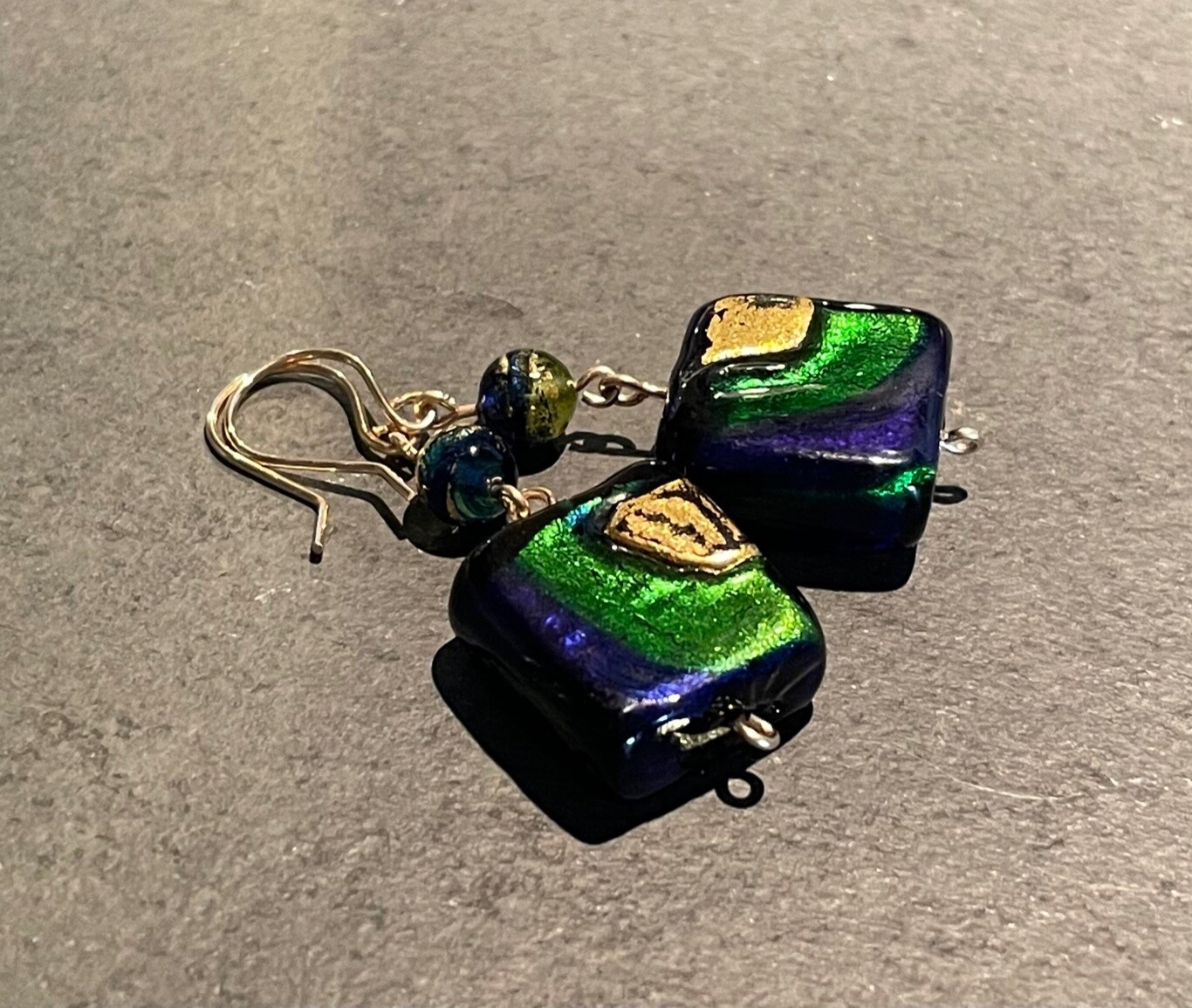 Blue, green & gold Murano Squares