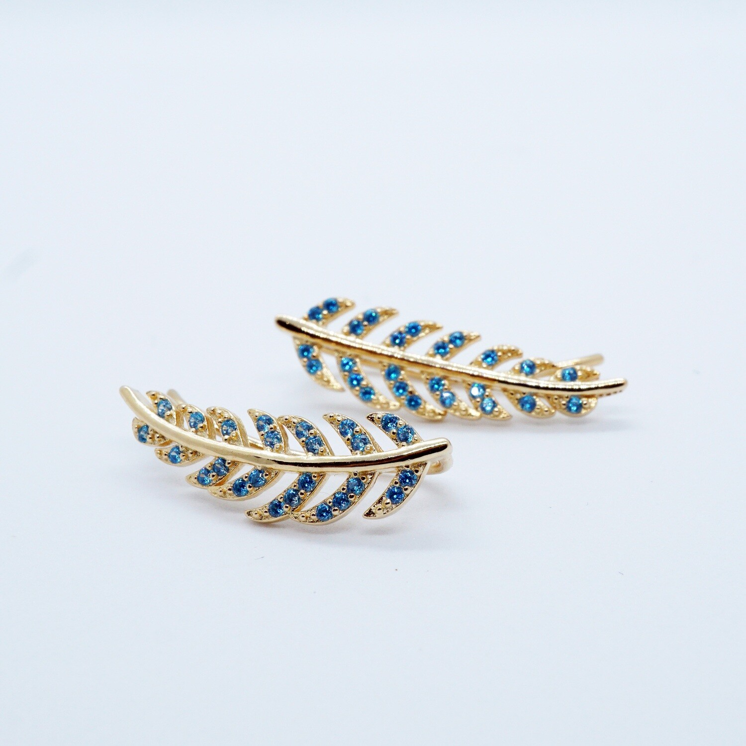 Gold plated climber dainty silver leaf earrings