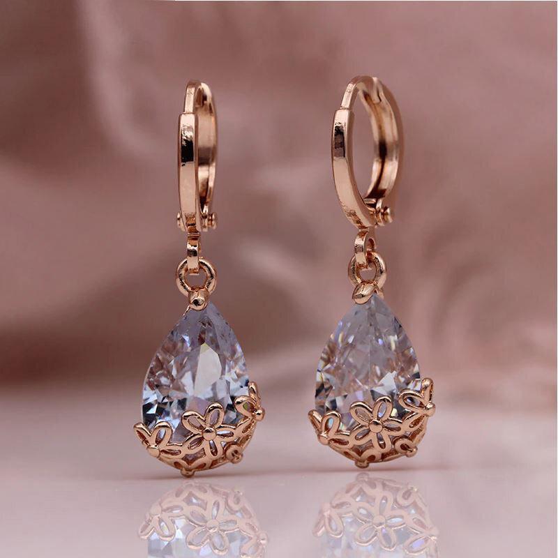 Carmen X - Rose Gold Crystal Drop Earrings