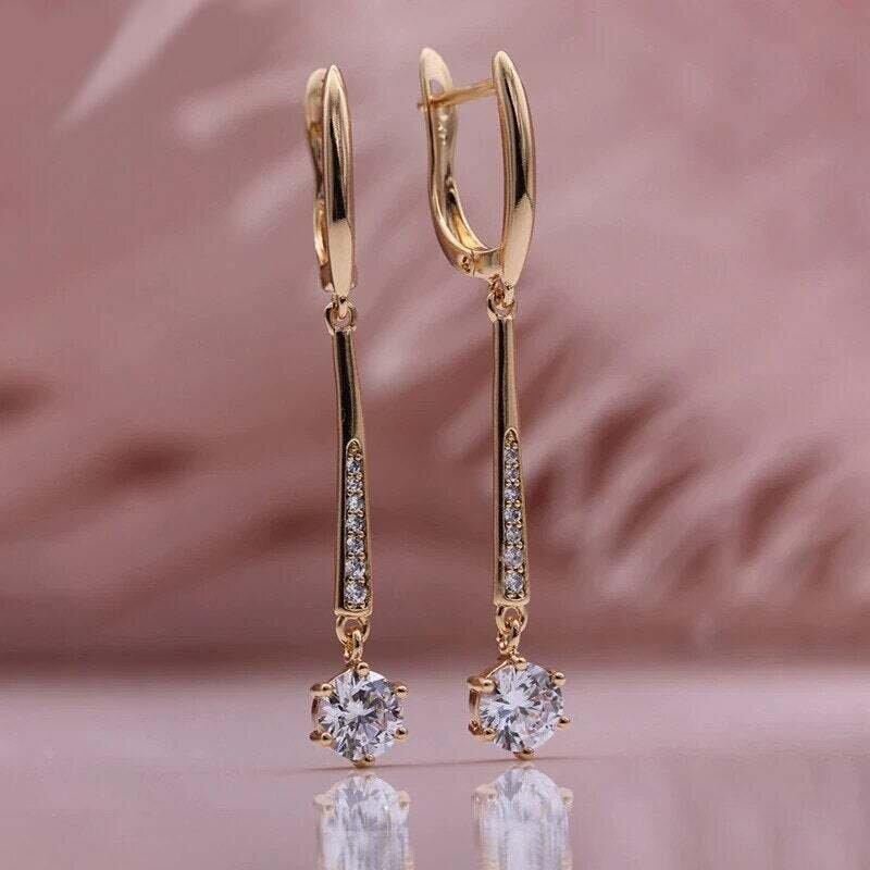Marta X - Rose Gold Crystal Drop Earrings