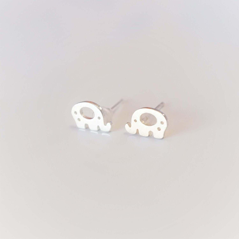elephant earrings //  animal earrings // elephant jewelry // silver elephant for lucky girls