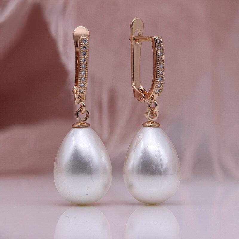 Gabriela X - Rose Gold Pearl Drop Earrings - White or Black