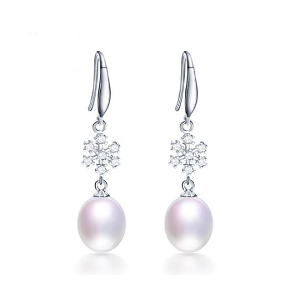 Elsa X - Silver Winter Freshwater Pearl Crystal Drop Earrings