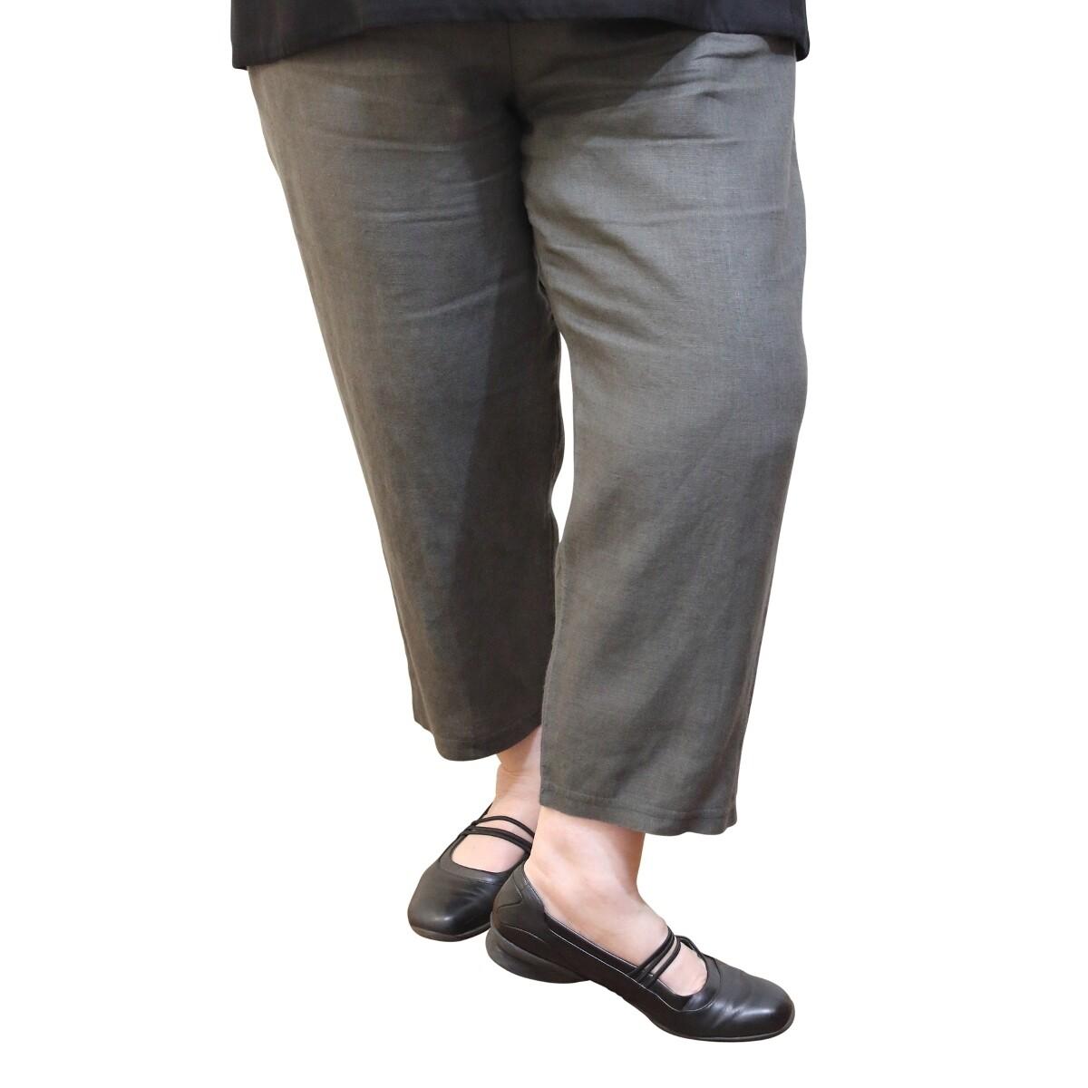Pure Linen Cropped Leg Pants