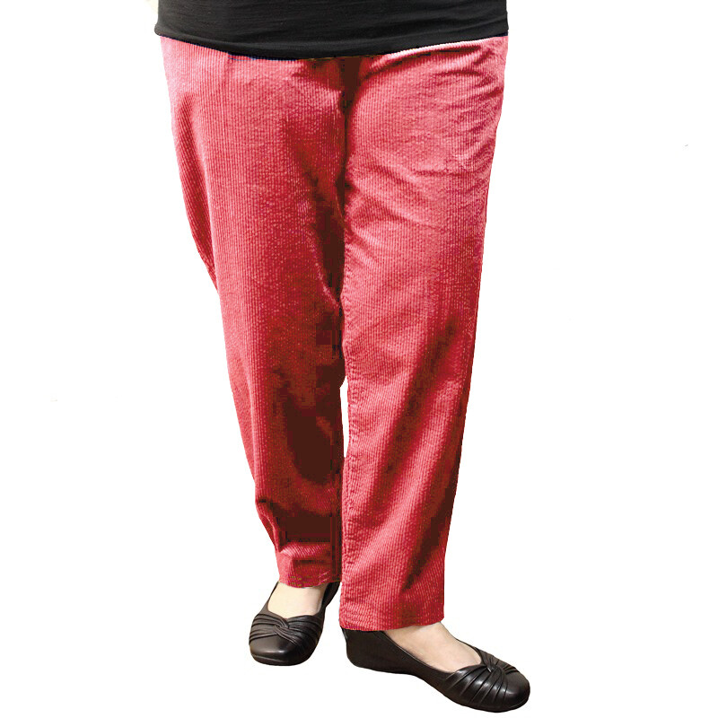 Pure Cotton Winter Cord Pants - Berry Red