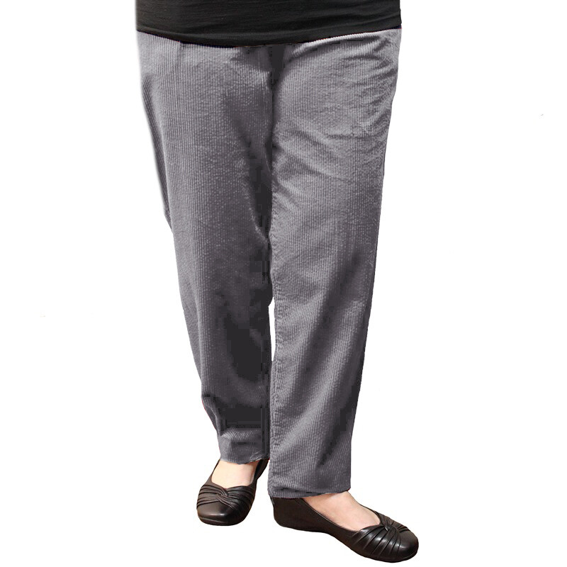 Pure Cotton Winter Cord Pants - Grey