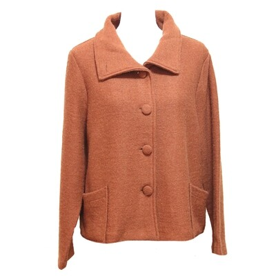 See Saw Boiled Wool Collar Button Front Jacket