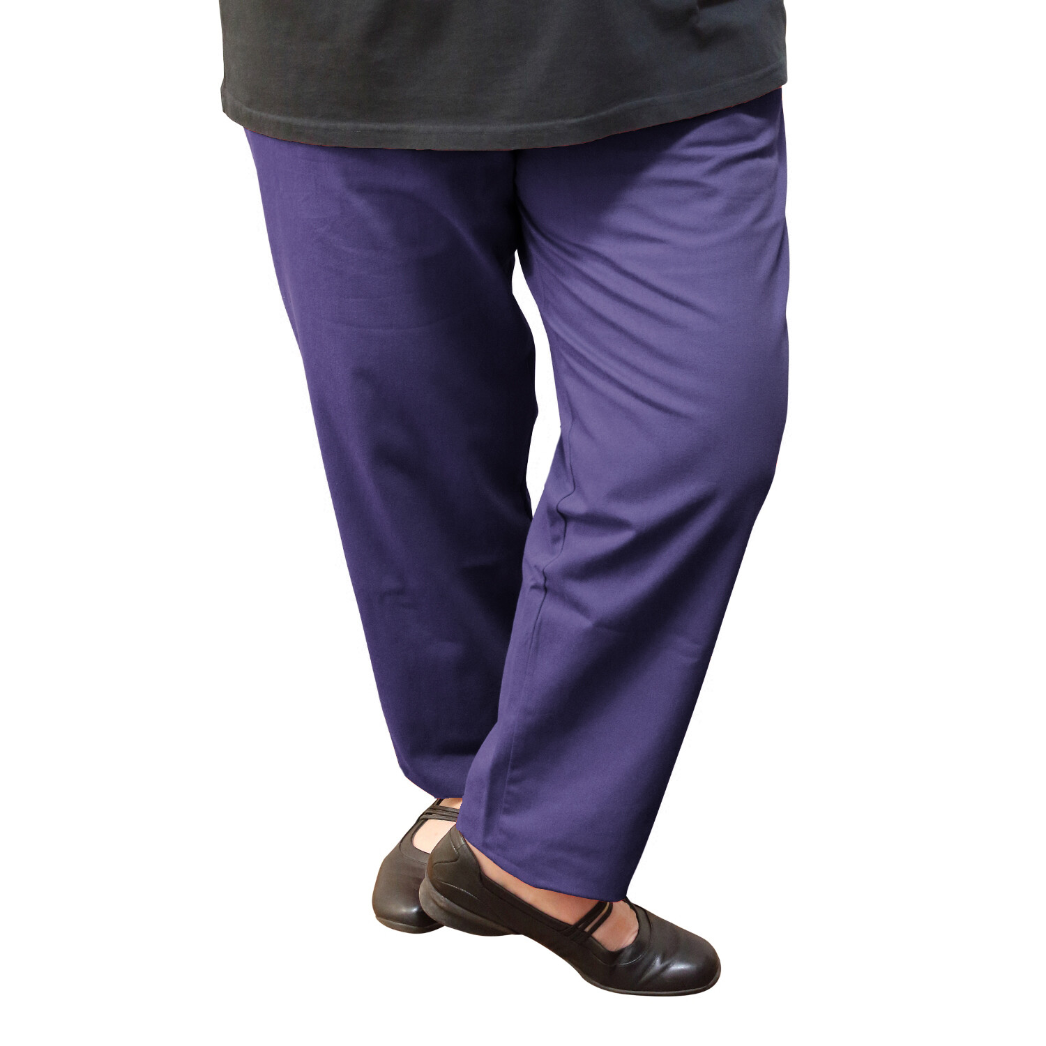 Cotton and Wool Blend Aubergine Pants