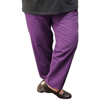 Cotton and Wool Blend Plum Pants