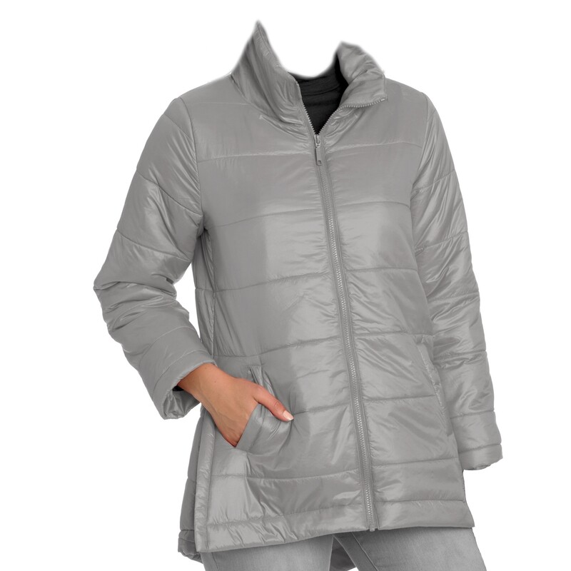 Marco Polo Pebble Grey Quilted Puffer Coat