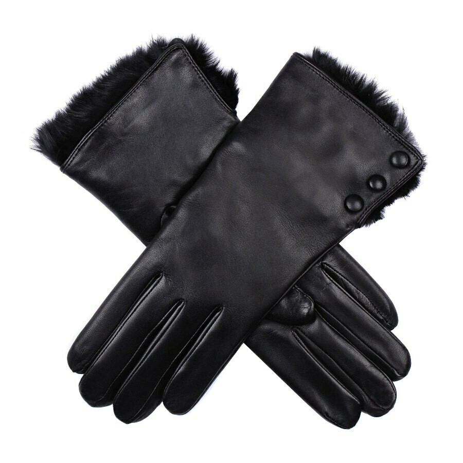 Long Length Button and Fur Gloves by Dents