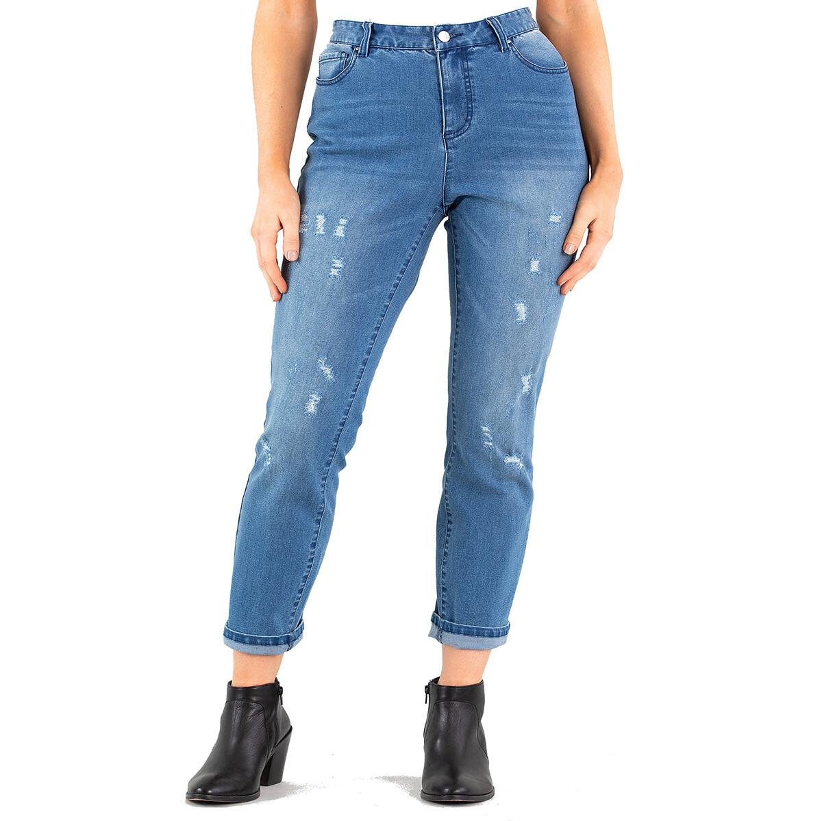Cropped Length Stretch Denim Pants